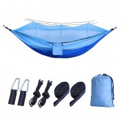 Outdoor Travel Camping Tent Swing Bed Mosquito Net Hanging Hammock - Dark Blue/Light Blue