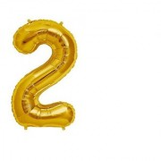 Stylewell Solid Golden Color Single Number Two (2) 3d Foil Balloon for Birthday Celebration Anniversary Parties