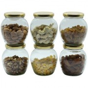 Glazzure Cute 350 ml Apple Shaped Airtight Matki Glass Jar Containers for Dry Fruits Spices & other Kitchen Items with Rust Proof Golden Color Caps Set of 6 pcs
