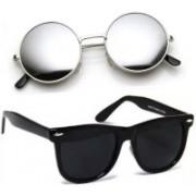SRPM Round, Wayfarer Sunglasses(Silver, Black)