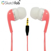 Sketchfab High Bass Best Sound In-Ear Earphone Without Mic Compatible With All 3.5mm jack - Pink