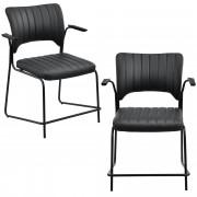 [en.casa]® Комплект от 2 бр. Офис столове Praha - еко кожа - Черни- конферентни столове