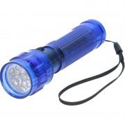 Geen Blauwe zaklamp met 14 LED lampjes 14 cm
