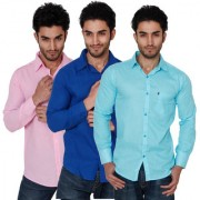 Black Bee Combo Of 3 Plain Casual Slim fit Poly-Cotton Shirts For Men's