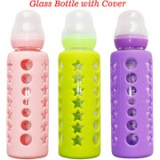 Toys Factory Baby Feeding Glass bottle 240ml With Cover (Color May Vary)