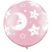 Baloane latex jumbo 30inch inscriptionate baby moon stars-a-round pearl pink, qualatex 32121, set 2 buc