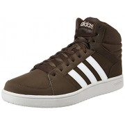 adidas neo Men's VS Hoops Mid Dbrown, Ftwwht and Peagre Leather Sneakers - 12 UK/India (47.3 EU)