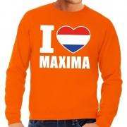 Bellatio Decorations Oranje I love Maxima sweater heren