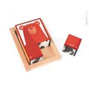 JANOD Klocki drewniane 6 elementów puzzle Baby Forest,