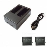 Ismartdigi 3.85V 1220mAh baterias de la camara + cargador dual del USB - negro