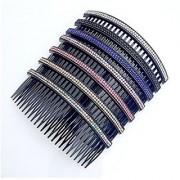 Casualfashion Women 24 Teeth Hair Comb Pin Clip Double Rows Rhinestone Hair Side Combs 4.72 Length 5-count