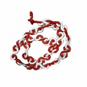 RE-FOX Best quality Hook Plastic chain/PVC Chain Barrier/Safety Cone Chain/Barricading chain - Red White- 10 mtrs