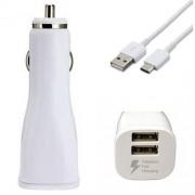 Зарядно за кола Samsung Fast Dual Car Charger (2A) с 2 входа с USB-C кабел (EP-LN920BW) (бяло)