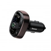 BASEUS S-09 T Typed (Rotate the Button to Adjust) 2-USB Bluetooth MP3 Car Charger Support USB Disk/TF card/FM Transmitter - Coffee