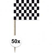 Geen 50x Cocktailprikkers race/finish vlag 8 cm vlaggetjes decoratie