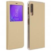 Avizar Funda Libro con Ventana Dorada para Samsung Galaxy A7 2018