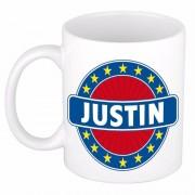 Bellatio Decorations Justin naam koffie mok / beker 300 ml