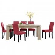PremiumXL - [en.casa] Blagovaonski stol - rustični hrast - 170x79 cm - sa 6 tapeciranih stolica - crvene -