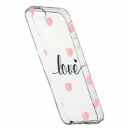 Husa Silicon Transparent Slim Love Flying Hearts Apple iPhone 5 5S SE
