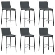 vidaXL Бар столове, 6 бр, сиви, изкуствена кожа