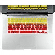 Litop Thin Double Color Gradient Yellow to Red Series Silicone Keyboard Cover Keyboard Skin for All MacBook Air 13 MacBook Pro with Retina Display 13 15 17 Macbook 13 Unibody (Double Color Gradient Yellow to Red)