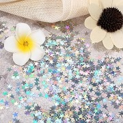 Miki Sin Star Confetti Holographic Stars Glitter Confetti, Great for Party Decoration, Wedding Supplies and Nail Art, Pack of 50g (Size- 6mm)