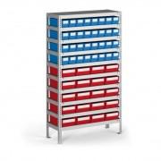 B2B Partner Regal mit kunststoffboxen shelfbox, 1600 x 800 x 400 mm, 32x b, 20x e