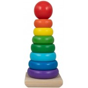 Jysk Partivarer Stapeltorn i trä - Många fina färger - 21 cm hög - 9 delar