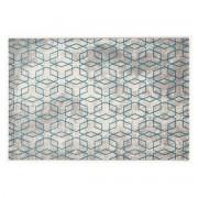 Miliboo Naturfarbener Teppich mit blauen Motiven 160 x 230 cm SOHO