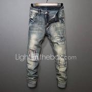 Heren Eenvoudig Medium taille Recht Micro-elastisch Jeans Broek Effen