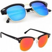 LEZTO Clubmaster Sunglasses(Orange, Blue)
