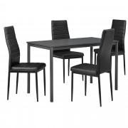 [en.casa] Set de mesa de comedor diseño [120cm x 60cm x 75cm] gris oscuro - 4 x sillas tapizadas en cuero sintético - negro