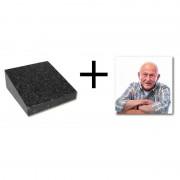 Fotoblok gedenksteen 12x12cm inclusief fotokeramiek — Himalaya Blue