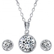Mahi with Swarovski Crystal Elements Rhodium Plated Solitaire Pendant Set For Women