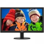 Монитор Philips 243V5LHSB, 23.6 Wide TN LED, 1 ms, 10M:1 DCR, 250 cd/m2, 1920x1080 FullHD, DVI, HDMI, Черен, 243V5LHSB/00