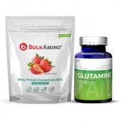 Advance Nutratech Bulkamino Whey Protein Concentrate 80 Raw Protein 500gm Strawberry Supplement PowderGlutamine suppl