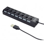 UHB-U2P7-03 Gembird USB 2.0 powered 7-port hub with switches, black