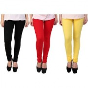 Stylobby Black Yellow And Red Kids Legging Pack Of 3