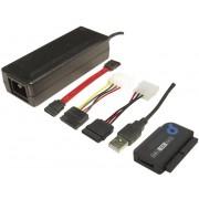 Cablu USB 2.0 LogiLink, mufă tată USB A 2.0 - mufă tată SATA 7 pini, mufă mamă IDE 40 pini, mufă mamă IDE 44 pini 1.2 m, negru