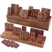 Dominoes Set Double Six Professional with Domino Racks (Trays) or Holders, Handmade Mango Wood in Antique Finish, 28 Domino Tiles with Wooden Case by SKAVIJ