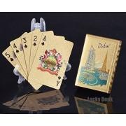 Gold Foil Coated PLAYING CARDS FULL POKER DECK Gift Dubai The Palm Burj Khalifa Burj Al Arab Color Design+ free Lucky Donk sticker