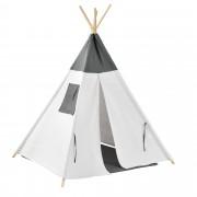 [en.casa]® Детска шатра 150 x 120 x 120 cm , Бяла/Сива, Полиестер