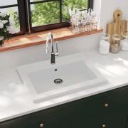 vidaXL Granitové umývadlo 600x450x120 mm biele