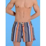 Hom Мужские пляжные шорты из хлопка в цветную полоску HOM Vintage Stripes 07460cM9
