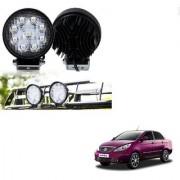 Auto Addict DEVICE 4 inch 9 LED 27Watt Round Fog Light with Flood Beam Auxiliary Lamp Set Of 2 Pcs For Tata Manza