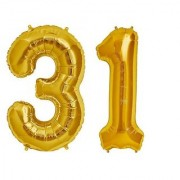 De-Ultimate Solid Golden Color 2 Digit Number (31) 3d Foil Balloon for Birthday Celebration Anniversary Parties