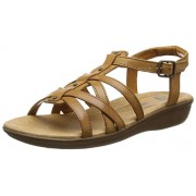 Clarks Women's Tan Leather Fashion Sandals - 6 UK/India (39.5 EU)
