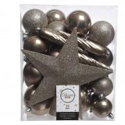 Decoris 33x Kasjmier bruine kerstballen met piek 5-6-8 cm kunststof - Kerstbal