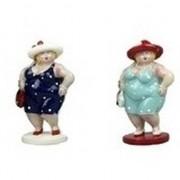 Geen 2x Dikke staande dames beeldjes 20 cm in donkerblauwe/lichtblauw - Action products