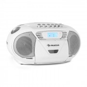 Auna KrissKross Radiocasete portátil USB MP3 CD blanco (CS10-KRISSKROSS-WHIT)